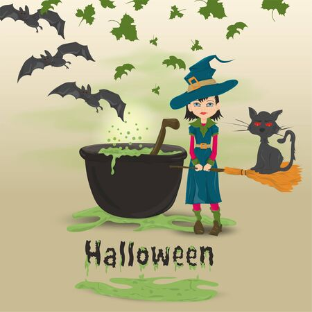 childrens illustration in the style of flat, on the eve of all saints day, Halloween, a little witch with a broom standing at the cauldron with a potion vector EPS 10
