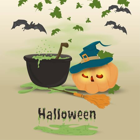 childrens illustration in flat style, on the theme of all saints eve, Halloween, a pumpkin in a witchs hat and a cauldron with a potion vector EPS 10