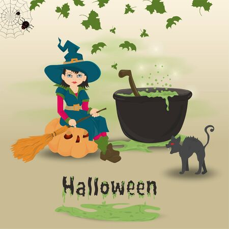 childrens illustration in the style of flat, on the eve of all saints day, Halloween, a little witch with a broom sitting on a pumpkin at the cauldron with a potion vector EPS 10