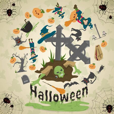 illustration of all saints eve, Halloween, circular ornament at the corners of the web with spiders drawings in the circle placed randomly vector Stock Illustratie