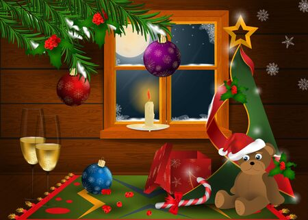 Christmas and new year interior in a wooden room with a window and a view of the moonlit night with fir branches, toys vector Illustration