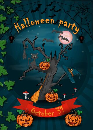 poster design for all Hallows eve decoration, Halloween, scary tree with pumpkins growing in the cemetery vector EPS 10
