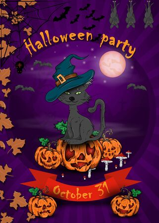 poster design for all saints eve holiday decoration, Halloween, cat in witch hat sitting on pumpkin vector EPS 10