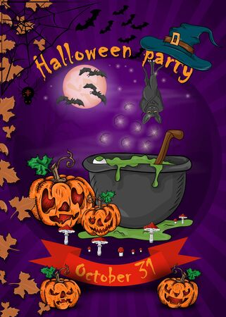 design posters for decoration of the holiday all Hallows eve, Halloween, cauldron of potion next to the pumpkins in the cemetery vector EPS 10