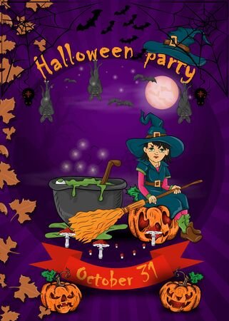 poster design for all saints eve holiday decoration, Halloween, little witch with broom sitting on a pumpkin in the cemetery next to the potion cauldron vector EPS 10 Stock Illustratie