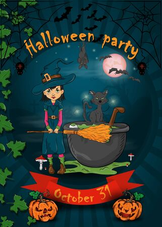 mock posters for all saints eve, Halloween, little witch with broom standing next to the potion cauldron in the cemetery, vector design vector EPS 10 Stock Illustratie