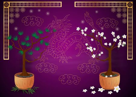 two trees bonsai, pine and cherry in a pot and gold Chinese dragon purple background Иллюстрация