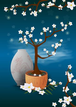 bonsai tree in a pot Sakura watch the leaves and flowers near vase blue background