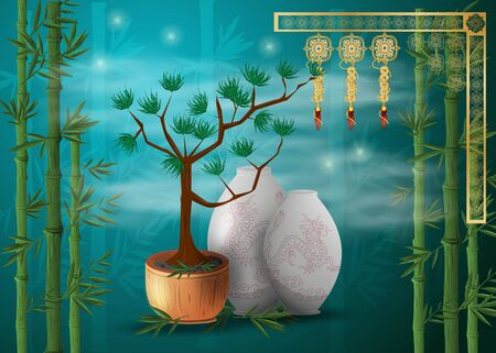 bonsai tree, coniferous in a pot next to Chinese vases among bamboo thickets blue radial background