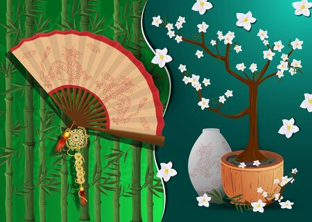 Chinese new year greeting card design, paper cut background divided into two halves, bonsai tree fan with vase balance symbol  イラスト・ベクター素材
