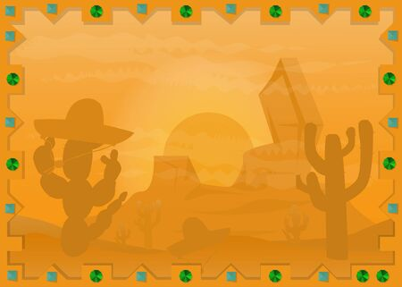 landscape vector illustration of a Mexican desert in the frame of the sun, the cacti and mountains 向量圖像