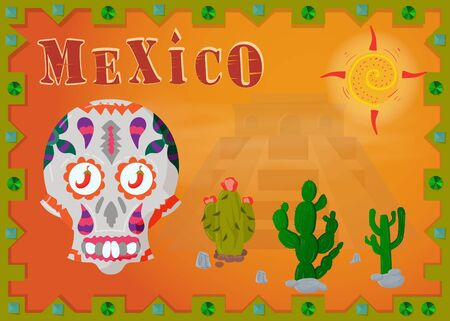 the landscape of the Mexican desert, in the frame of the pyramid, Indians and colored patterns skull vector EPS 10