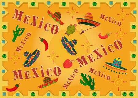 illustration inscription country name Mexico among sombreros and peppers in a frame on a yellow background vector
