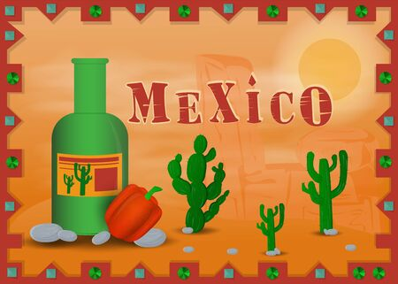 the landscape of the Mexican desert to frame the bottle of tequila bell pepper vector EPS 10