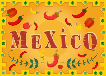 large inscription the name of the country Mexico which is surrounded by chili and Bulgarian in the frame vector EPS 10