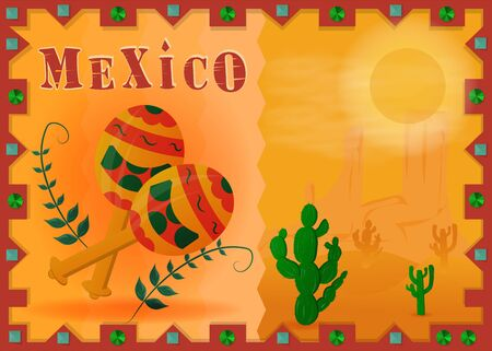 the landscape of the Mexican desert framed maracas and twigs with leaves vector EPS 10