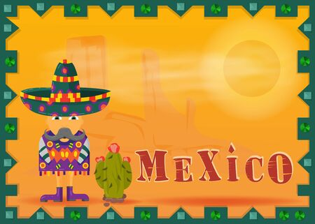 landscape Mexican desert framed mustachioed Mexican in a poncho and sombrero vector