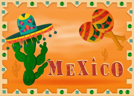 the landscape of the Mexican desert in a frame hat sombrero wearing cactus and maracas vector 向量圖像