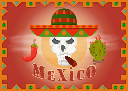 skull in Mexican sombrero Smoking cigar left and right cactus and pepper and frame vector EPS 10