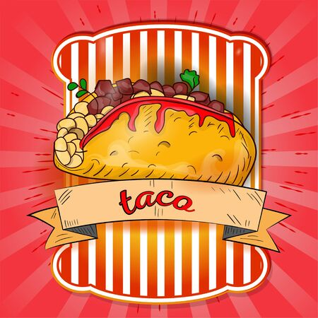 the label illustration of a Mexican dish tacos the name on the flag