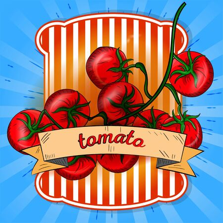 label illustration a sprig of tomatoes on a blue background with rays of the name on the flag