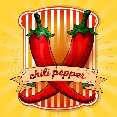 label illustration of two hot chili peppers red with the name on the flag