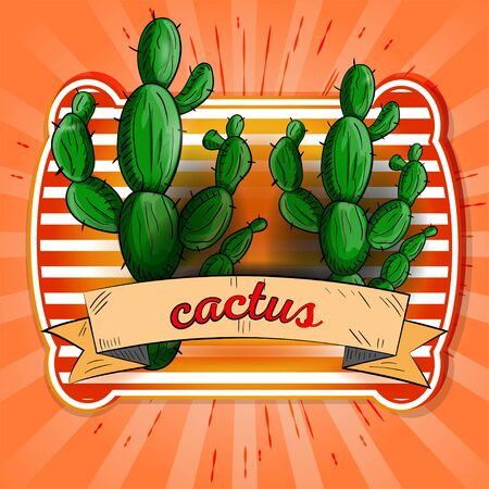 label illustration two green cactus with the name on the flag