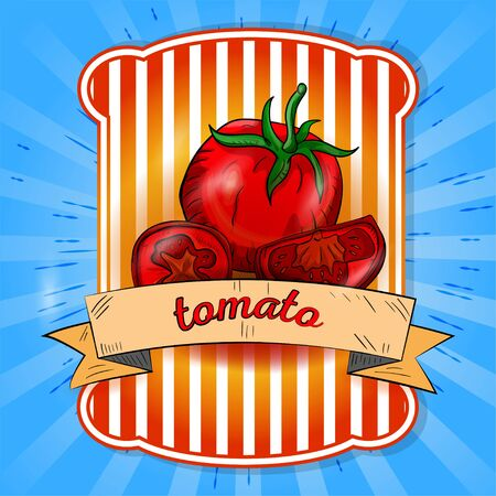 label illustration whole tomato and cut into pieces on blue background with rays title on flag