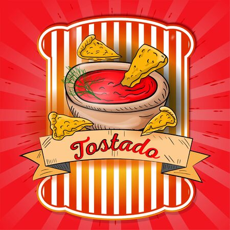 Taza de salsa mexicana picante con rodajas de Tostado etiqueta el diseño del nombre en la bandera