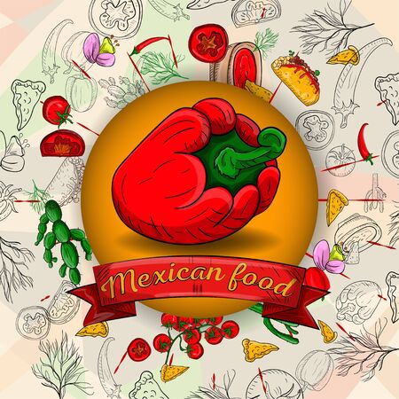 illustration of Mexican cooking products in a circular ornament of outlines and colored ingredients design for backgrounds and stickers vector eps 10 Иллюстрация