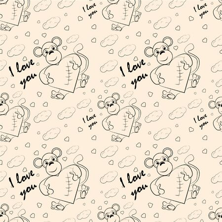 contour seamless children illustration little monkey hugs heart I love you  checkered greeting card design for Valentines day vector