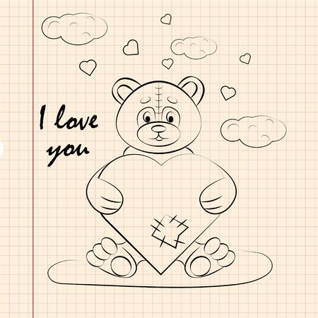 contour children illustration little Panda hugs heart I love you drawing on notebook checkered greeting card design for Valentines day vector Иллюстрация