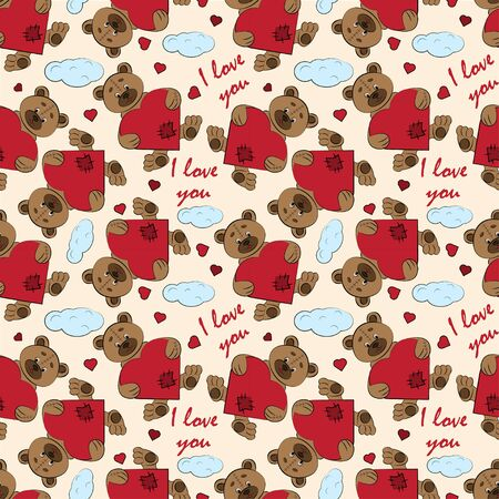 contour color seamless childrens illustration little bear hugs heart I love you checkered greeting card design for Valentines day vector EPS 10