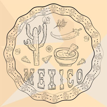 contour illustration circular ornament sticker with skulls Mexican theme for decoration cactus pepper hot sauce on a plate and and lettering country name
