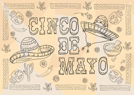 contour illustration poster design sticker with pattern frame Mexican theme for events and backgrounds sombreros cacti and chili lettering country name