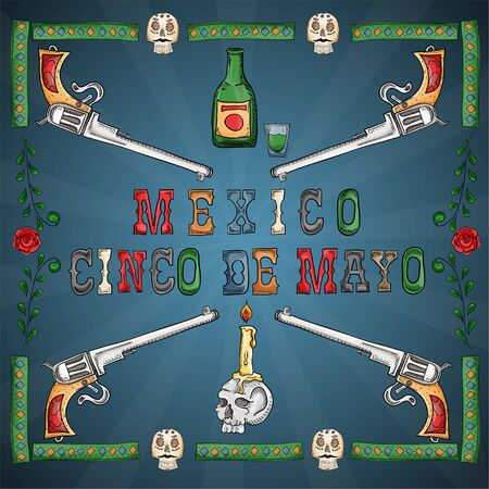 vector illustration in a frame on the theme of the Mexican holiday Cinco de mayo inscription and pistols revolvers in the corners and a skull with a burning candle