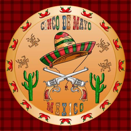 vector illustration round sticker on the theme of the Mexican holiday Cinco de mayo sombrero hat and two pistols revolver