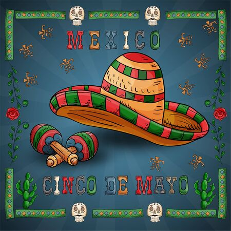 vector illustration in a frame on the theme of the Mexican holiday Cinco de mayo sombrero hat and musical instrument maracas