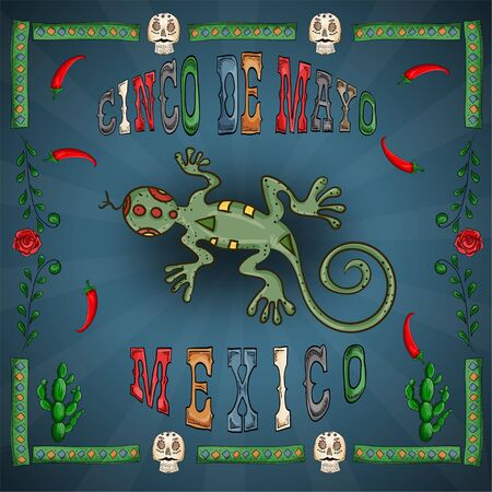 vector illustration in a frame on the theme of the Mexican holiday Cinco de mayo lizard among red chili peppers