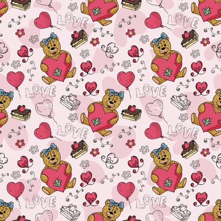 seamless illustration of colored and contour drawings of Teddy bears boy and girl on the theme of love and Valentines day for decoration backgrounds vector EPS 10