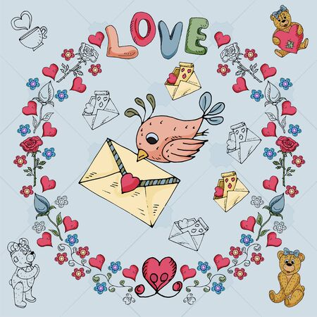 illustration of Teddy bears boy and girl on the theme of love and Valentines day in the style of childrens Doodle in a circular ornament of flowers and hearts for design vector EPS 10