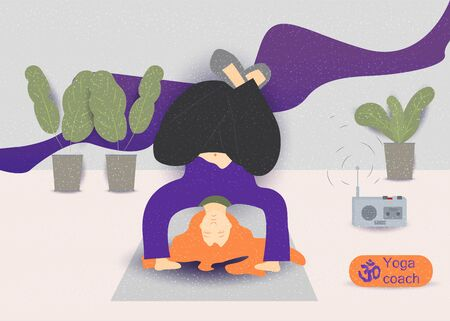 a young girl with red hair doing gymnastics yoga exercise on a Mat vector illustration without contours in the style of flat concept design for the design of various baked web products EPS 10