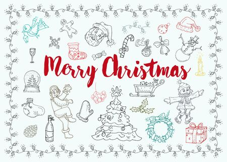 Christmas and new year contour design icon set for decoration festive elements in the style of childrens Doodle snowman kids Christmas wreath fir balls gifts socks hat vector EPS 10  イラスト・ベクター素材