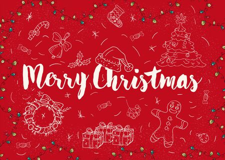 Christmas and new year contour layout for design postcards in the style of childrens Doodle greeting inscription tree spruce gifts cone candy wreath socks gingerbread man Santa hat vector EPS 10  イラスト・ベクター素材