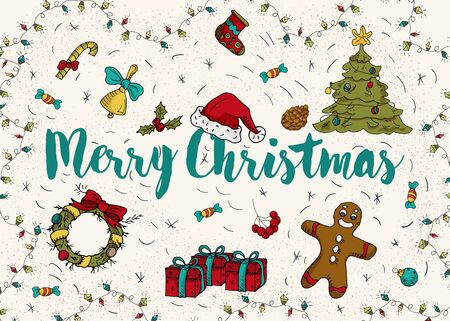 Christmas and new year contour color layout for design postcards in the style of childrens Doodle greeting inscription tree spruce gifts cone candy wreath socks gingerbread man Santa hat vector EPS 10