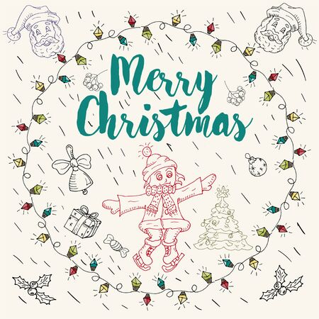 New year and Christmas contour layout for postcard design in the style of childrens Doodle greeting inscription girl on skates in a circle of garland vector EPS 10