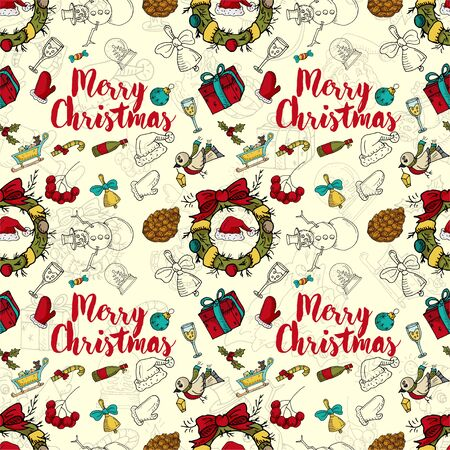 seamless pattern New year Christmas color and contour illustration baby Doodle layout for design Santa spruce wreath sock gingerbread man gloves garland ball background changing vector EPS 10