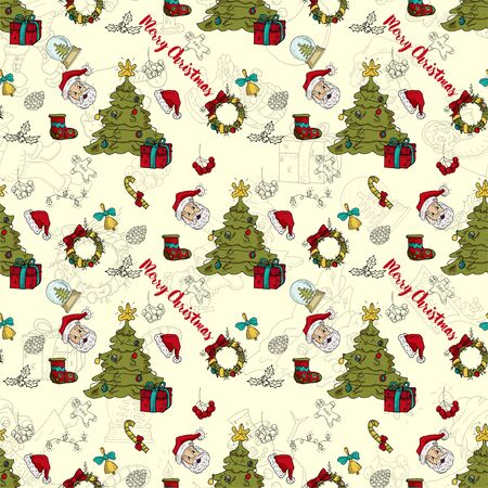 seamless pattern New year Christmas color and contour illustration baby Doodle layout for design Santa spruce wreath sock gingerbread man gloves garland ball background changing vector EPS 10 写真素材 - 132120978
