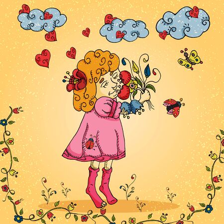 illustration of a little girl in a dress who sniffs a bouquet of flowers in the style of childrens Doodle for decoration design of postcards and printed products vector