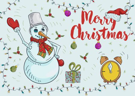 New year Christmas contour color illustration for decoration design greeting inscription snowman with bucket alarm clock gift garland frame vector EPS 10